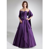 A-Linie/Princess-Linie Herzausschnitt Bodenlang Taft Quinceañera Kleid (Kleid für die Geburtstagsfeier) mit Rüschen Perlen verziert