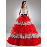 Duchesse-Linie Trägerlos Bodenlang Organza Quinceañera Kleid (Kleid für die Geburtstagsfeier) mit Perlen verziert Kristalle Blumen Brosche Gestufte Rüschen