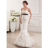 Trumpet/Mermaid Sweetheart Sweep Train Satin Tulle Wedding Dress With Lace Sash Beading Bow(s)