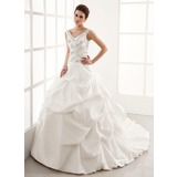 Ball-Gown V-neck Chapel Train Taffeta Wedding Dress With Ruffle Beadwork (002004595)