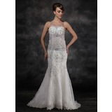 Mermaid Court Train Organza Wedding Dress With Lace Beadwork Sequins (002017114)
