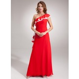 Sheath One-Shoulder Floor-Length Chiffon Bridesmaid Dress With Ruffle (008005664)