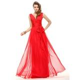 A-Linie/Princess-Linie V-Ausschnitt Bodenlang Chiffon Festliche Kleid mit Rüschen Schleife(n)