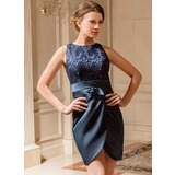 Sheath Scoop Neck Tea-Length Satin Lace Mother of the Bride Dress With Ruffle (008024439)