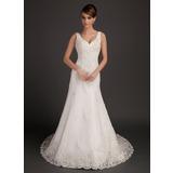 A-Linie/Princess-Linie V-Ausschnitt Kapelle-schleppe Tüll Brautkleid mit Perlen verziert Applikationen Spitze