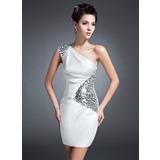 Forme Fourreau Encolure asymétrique Court/Mini Charmeuse Robe de mère de la mariée avec Plissé Sequins