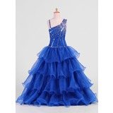 A-Line/Princess Floor-Length Organza Flower Girl Dress With Beading Sequins Cascading Ruffles (010007469)