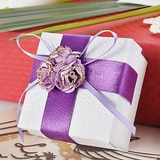 White Favor Box With Purple Flowers (Set of 12) (050016127)