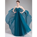 Empire-Linie Herzausschnitt Bodenlang Chiffon Abendkleid mit Rüschen Perlen verziert Pailletten