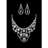 White Rhinestone Two Piece Ladies' Fine Design Wedding Jewelry Set  (011011959)