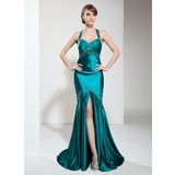 Mermaid Halter Sweep Train Charmeuse Prom Dress With Ruffle Beading (018002823)
