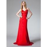 A-Line/Princess Halter Sweep Train Charmeuse Prom Dress With Ruffle Beading