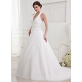 A-Line/Princess Halter Court Train Chiffon Wedding Dress With Ruffle Lace Beadwork (002012787)