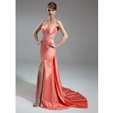 Sheath V-neck Watteau Train Charmeuse Evening Dress With Ruffle Beading (017004461)