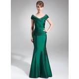 Trumpet/Mermaid Off-the-Shoulder Floor-Length Taffeta Mother of the Bride Dress With Ruffle Beading