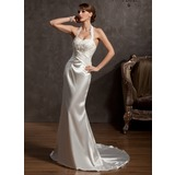 Sheath/Column Halter Court Train Charmeuse Wedding Dress With Ruffle Lace Beadwork (002014877)