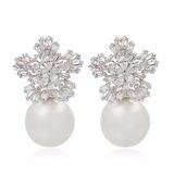 Schneeflocken Geformt Perle/Zirkon/Platin überzogen Damen Ohrringe