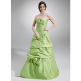 A-Line/Princess Sweetheart Floor-Length Taffeta Quinceanera Dress With Ruffle Lace Beading