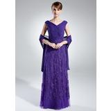 A-Linie/Princess-Linie Schulterfrei Bodenlang Chiffon Kleid für die Brautmutter mit Rüschen Spitze