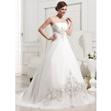 A-Line/Princess Strapless Cathedral Train Chiffon Wedding Dress With Embroidered Ruffle
