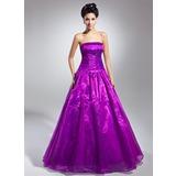 Duchesse-Linie Trägerlos Bodenlang Organza Quinceañera Kleid (Kleid für die Geburtstagsfeier) mit Rüschen