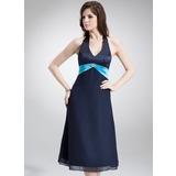 A-Line/Princess Halter Tea-Length Chiffon Satin Bridesmaid Dress With Sash Beading