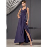 Sheath Sweetheart Ankle-Length Chiffon Evening Dress With Ruffle Beading Sequins (017014480)