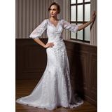 A-Linie/Princess-Linie V-Ausschnitt Hof-schleppe Tüll Brautkleid mit Perlen verziert Applikationen Spitze