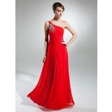 A-Linie/Princess-Linie One-Shoulder-Träger Bodenlang Chiffon Kleid für die Brautmutter mit Rüschen Perlen verziert
