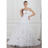 A-Line/Princess Sweetheart Chapel Train Organza Satin Wedding Dress With Ruffle Beadwork Flower(s) (002004749)