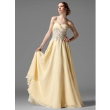 A-Line/Princess Sweetheart Floor-Length Chiffon Prom Dress With Ruffle Beading (018004901)