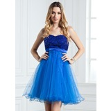 Empire Sweetheart Short/Mini Satin Tulle Homecoming Dress With Beading Sequins (022004622)
