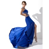 A-Line/Princess V-neck Sweep Train Charmeuse Prom Dress With Beading Sequins Split Front