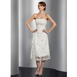 A-Line/Princess Strapless Tea-Length Lace Cocktail Dress With Beading