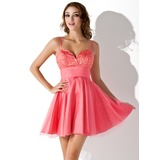 A-Line/Princess Sweetheart Short/Mini Tulle Charmeuse Homecoming Dress With Beading Sequins (022020626)