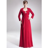Empire Sweetheart Floor-Length Chiffon Mother of the Bride Dress With Ruffle Crystal Brooch
