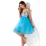 Empire Sweetheart Knee-Length Tulle Sequined Homecoming Dress With Beading (022020908)