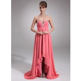 Empire Sweetheart Court Train Chiffon Prom Dress With Beading (018020947)