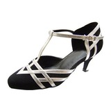 Women's Leatherette Nubuck Heels Pumps Modern With T-Strap Dance Shoes