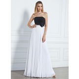 Empire Strapless Floor-Length Chiffon Prom Dress With Ruffle Beading Flower(s) (018020790)