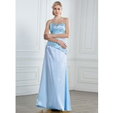 Sheath Sweetheart Floor-Length Satin Prom Dress With Ruffle Beading Sequins (018013096)