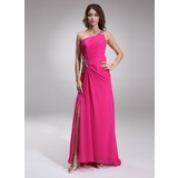 Sheath One-Shoulder Sweep Train Chiffon Prom Dress With Ruffle Beading (018005097)