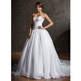 Ball-Gown Sweetheart Chapel Train Satin Organza Wedding Dress With Lace Beading