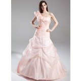 A-Line/Princess One-Shoulder Court Train Organza Quinceanera Dress With Ruffle (021015875)