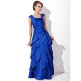 A-Linie/Princess-Linie V-Ausschnitt Bodenlang Charmeuse Kleid für die Brautmutter mit Gestufte Rüschen
