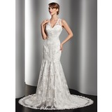 Mermaid V-neck Chapel Train Satin Tulle Wedding Dress With Lace Beadwork (002014512)