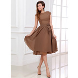 A-Line/Princess Scoop Neck Knee-Length Chiffon Bridesmaid Dress With Bow(s) (007017303)