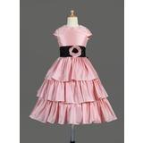 A-Line/Princess Tea-length Flower Girl Dress - Taffeta Sleeveless Scoop Neck With Ruffles/Sash/Flower(s)/Bow(s)