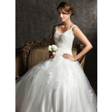 Ball-Gown V-neck Sweep Train Satin Tulle Wedding Dress With Ruffle Lace Beadwork Sequins (002008170)