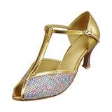 De mujer Cuero Brillo Chispeante Tacones Sandalias Danza latina con Tira T Zapatos de danza